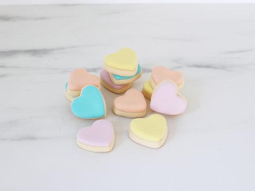 Set of 4 Faux Mini Fondant Pastel Heart Cookies Display Props