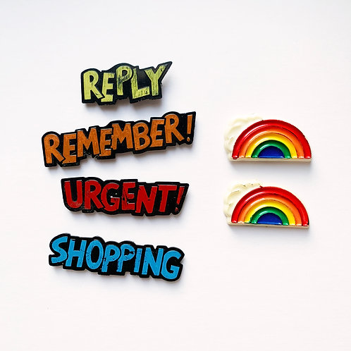 Vintage Novelty Magnet Set of 6- Rainbows & To Do Reminders