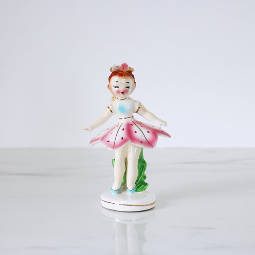 Vintage Dancing Pink Flower Girl Ballerina