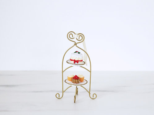 Miniature Christmas Cake Stand Hanging Or Standing Ornament