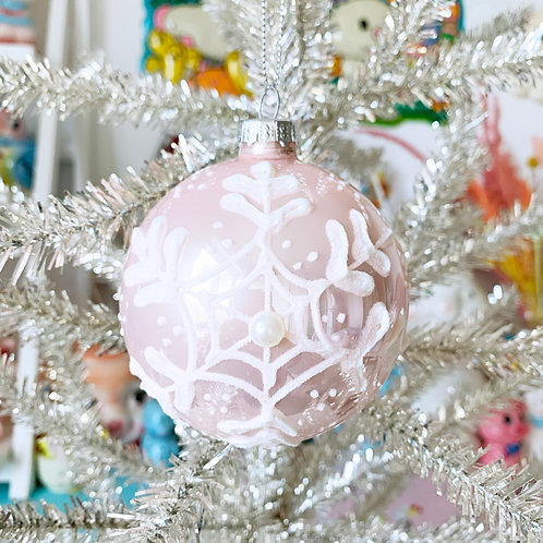Baby Pink Snowflake Glass Christmas Bauble