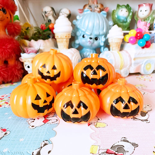 Vintage Plastic Halloween Pumpkin Light Covers