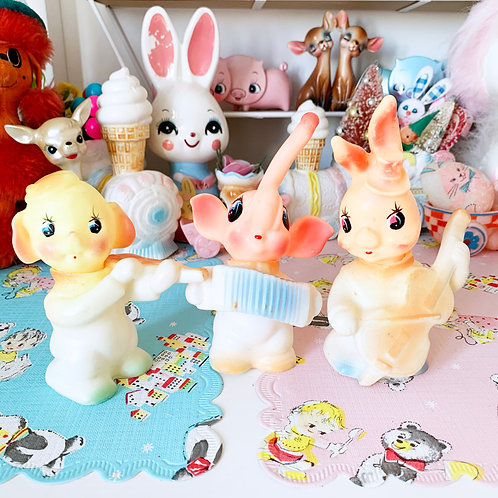 Vintage Kitschy Cute Animal Squeaky Toys