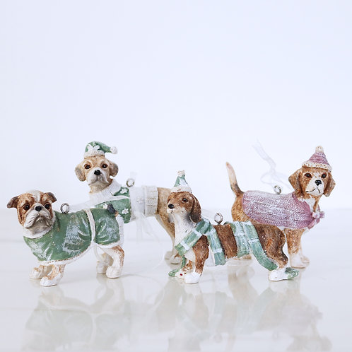 Dogs In Pastel Christmas Jumpers Hanging Decorations