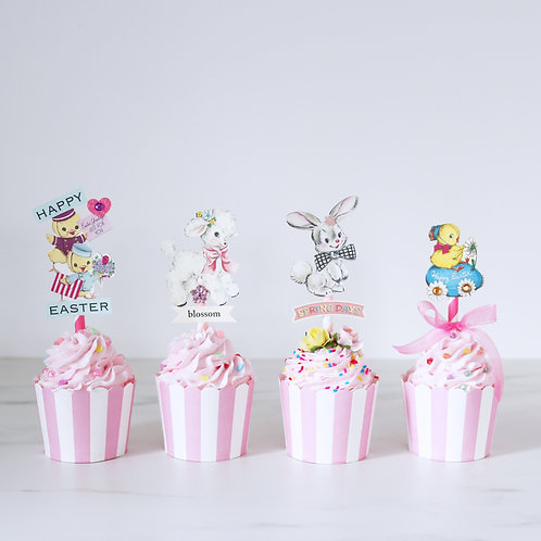 Set of 4 Vintage Themed Faux Easter Cupcakes