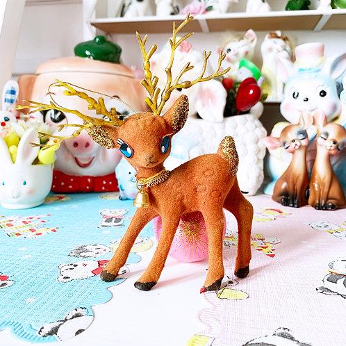 Vintage Christmas Red & Gold Deer Ornament