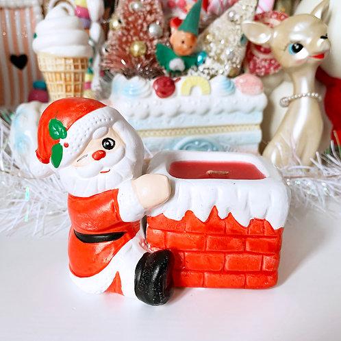 Vintage Kitsch Christmas Santa Candle Holder
