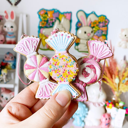 Pastel Gingerbread Sweetie Christmas Decorations