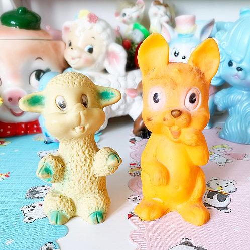 Quirky Vintage Lamb & Squirrel Squeaky Toys