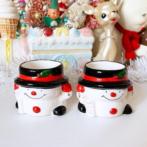 Vintage Candy Cane Snowman Mini Pots - Sold Separately