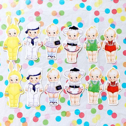 Little Kewpie Handmade Sticker Pack Set of 12