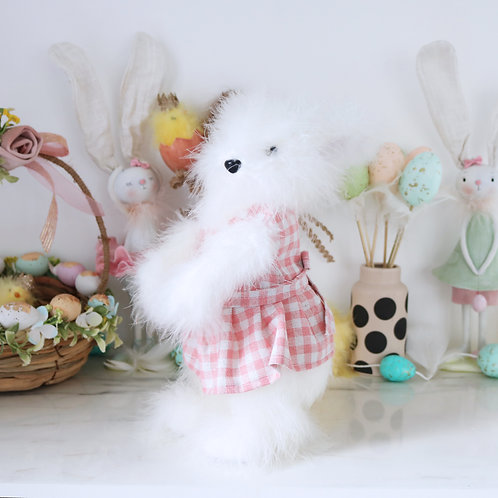 Pretty White Bunny in A Pink Gingham Dress Prop Decoration