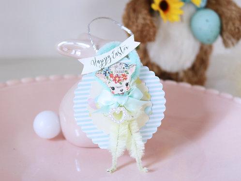 Vintage Style Mini Blue & Yellow Bump Chenille Easter Lamb Decoration