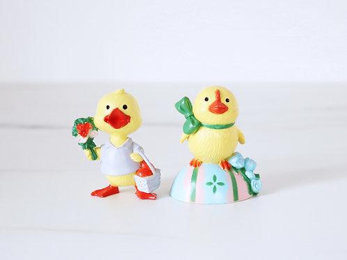 Vintage Plastic Easter Chick Cake Topper Set Of 2