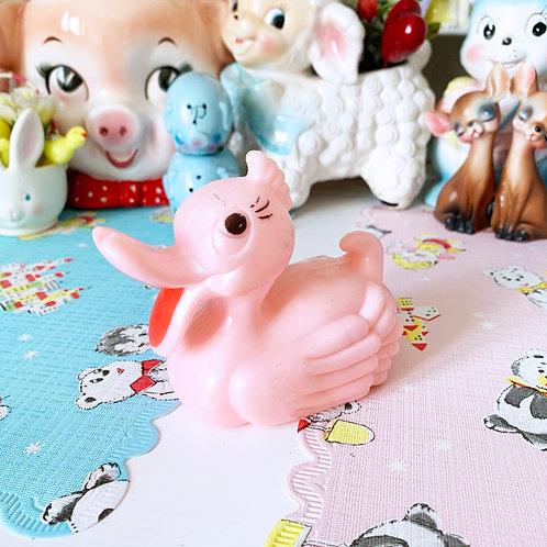 Vintage Kitsch Pink Plastic Duck Rattle