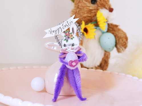 Vintage Style Purple Bump Chenille Easter Bunny Decoration