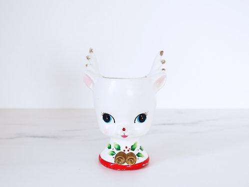 Stunning Vintage Ceramic Reindeer Head Christmas Planter - Made By Kelvin's
