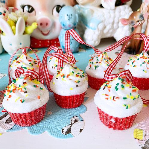 Red Glitter Cupcake Christmas Garland  2m