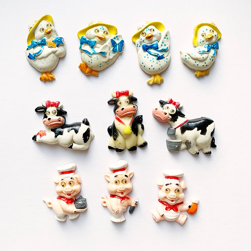 Kitschy Cute Vintage Farm Animal Magnet Sets