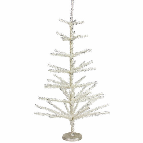 Slight manufacture Defect -Vintage Style Silver Tinsel Spiky Christmas Tree 90cm