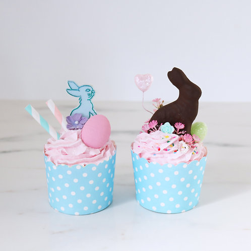 Set of 2 Pastel Blue Easter Kitsch Faux Cupcakes