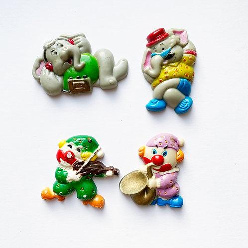 Vintage Novelty Magnets Set Of 4 - Elephants & Clowns