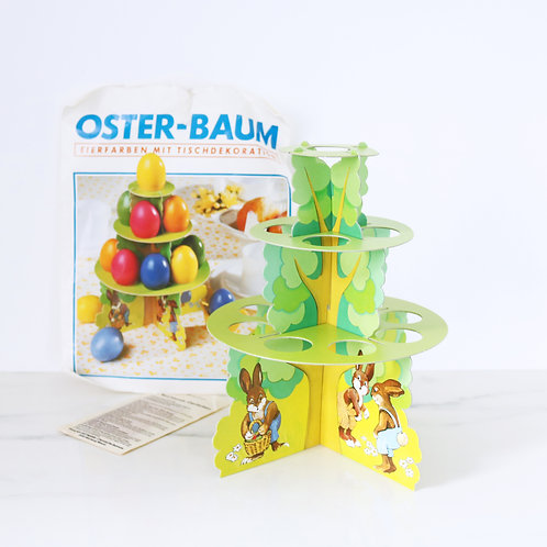 Vintage German Egg Display Stand With Easter Bunny Illustrations