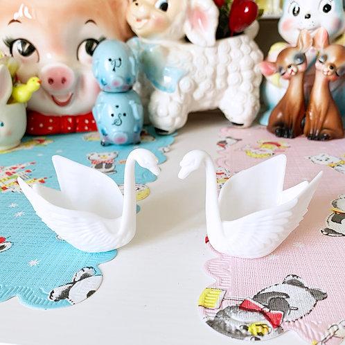 Pair Of White Vintage Plastic Swans