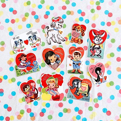 Vintage Valentines Sticker Pack Set Of 11