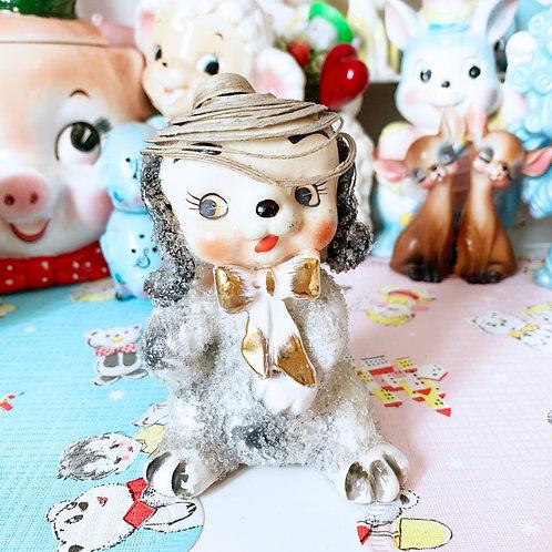 Sugar Ceramic Kitsch Bowtie Dog Ornament