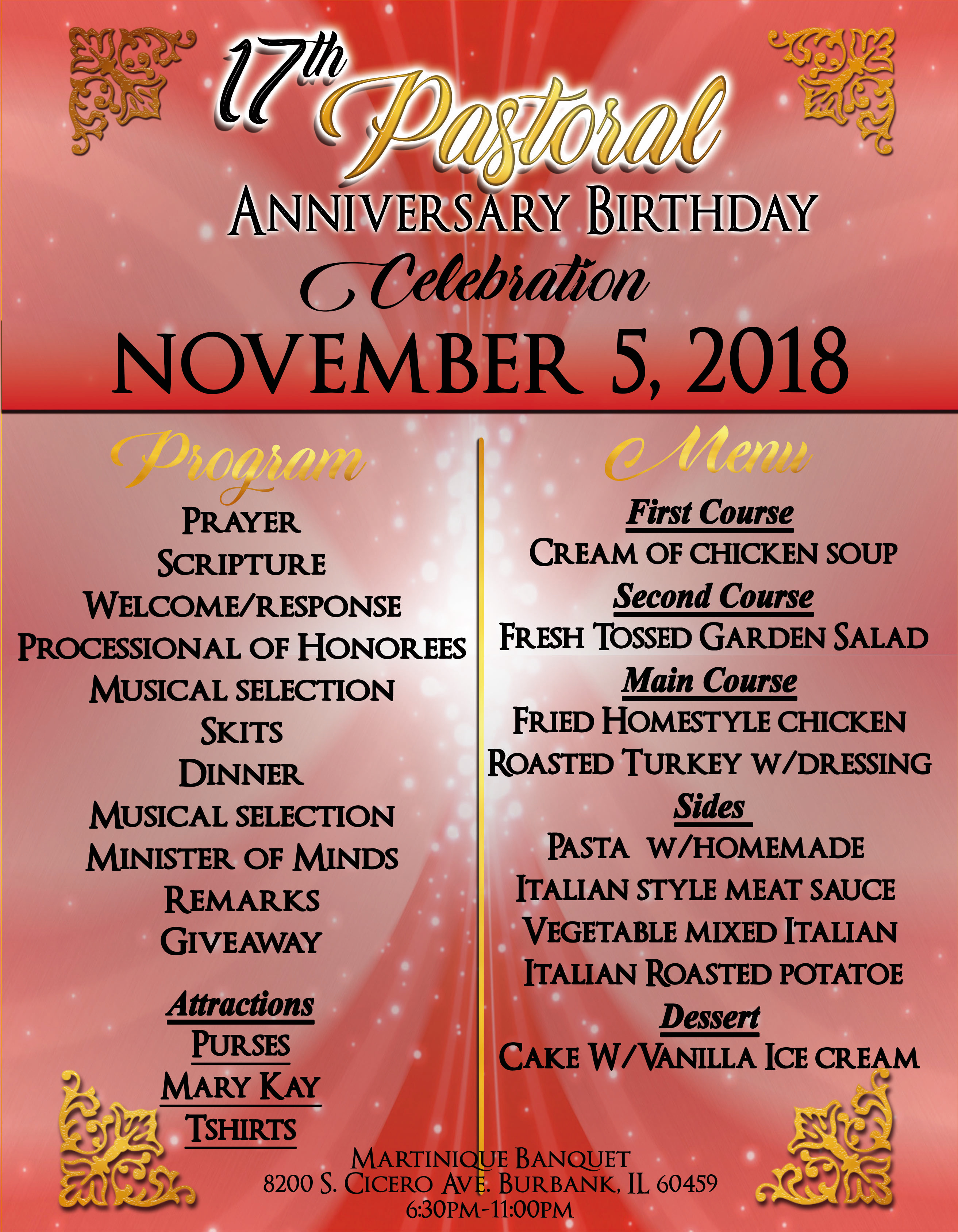 Pastor Tubbs Anniversary Flyer back