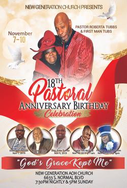 Pastor Tubbs Anniversary Flyer 2019