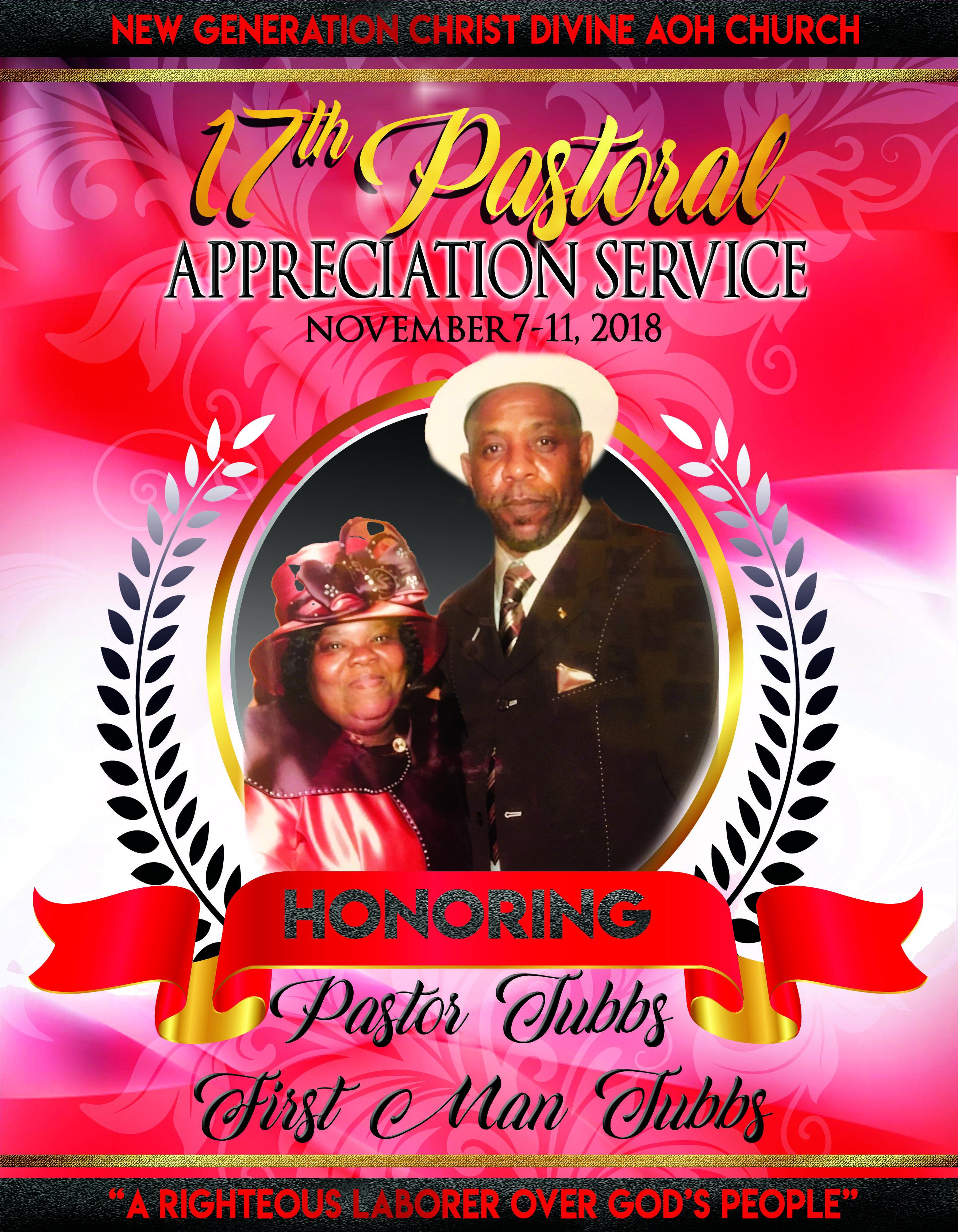Pastor Tubbs Anniversary Program -front.