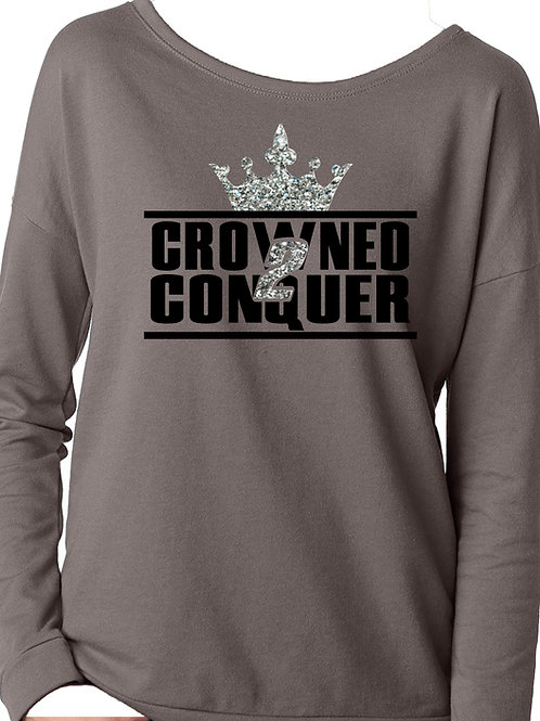 Crowned 2 Conquer-French Terry Long-Sleeve Scoop