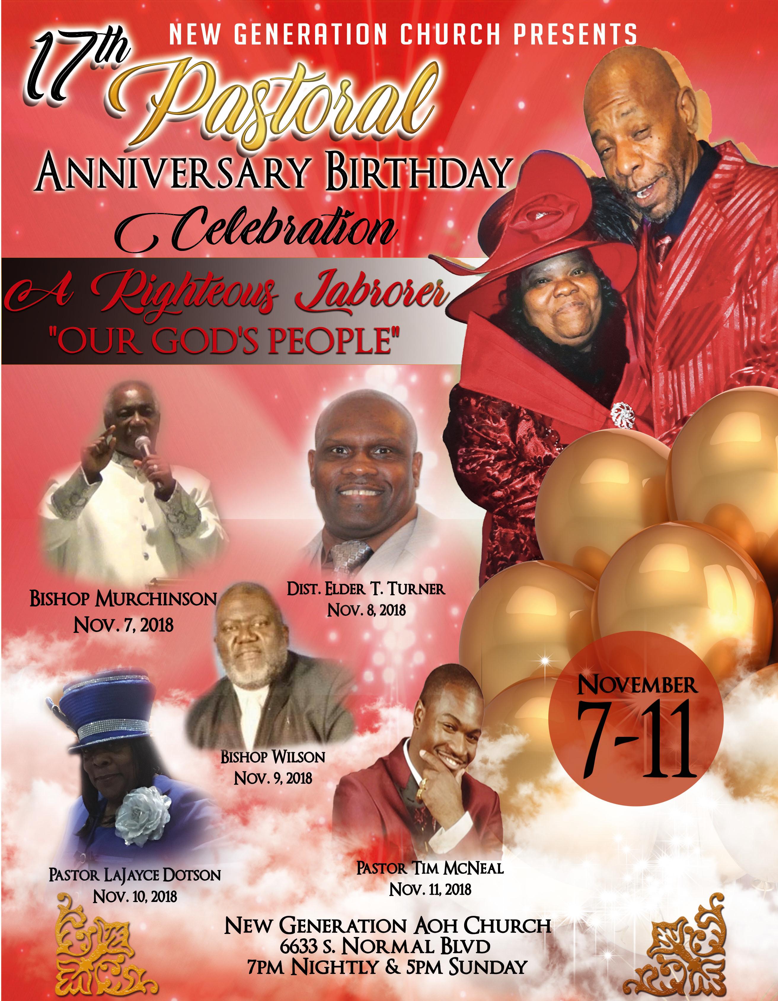 Pastor Tubbs Anniversary Flyer