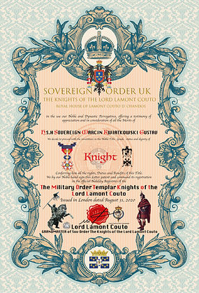 CERTIFICATE Knight H.S.H. Sovereign (Mar