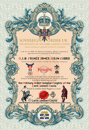 CERTIFICATE Knight  PRINCE JAMES AISIN G