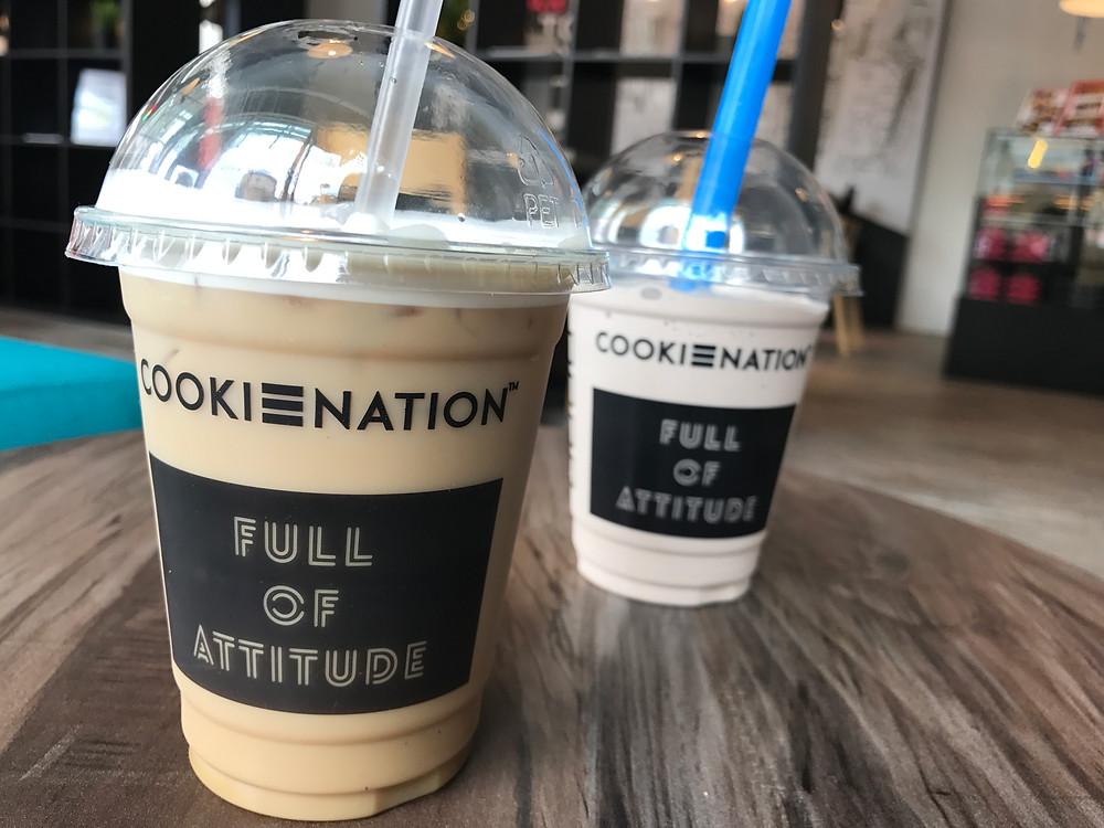 Iced latte (front) and Smooth Criminal milkshake (back)
