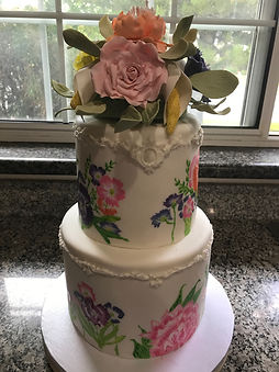 Sugar Paste flower boquet hand painted cake