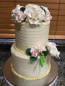 Sugar paste roses vanilla rustic cake