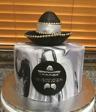 marble fondant cake sugar paste sombrero macheen