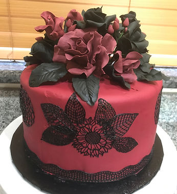 gothic cake sugar paste bouquet black roses black edible lace