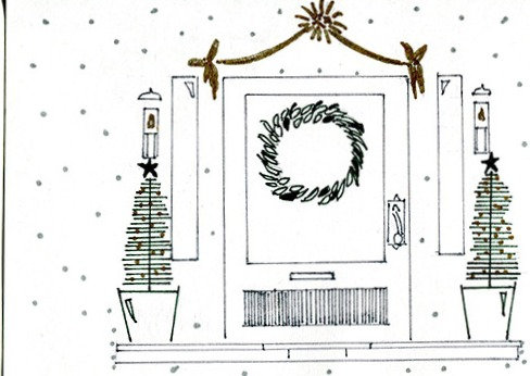 """Christmas Door"" Postcard"