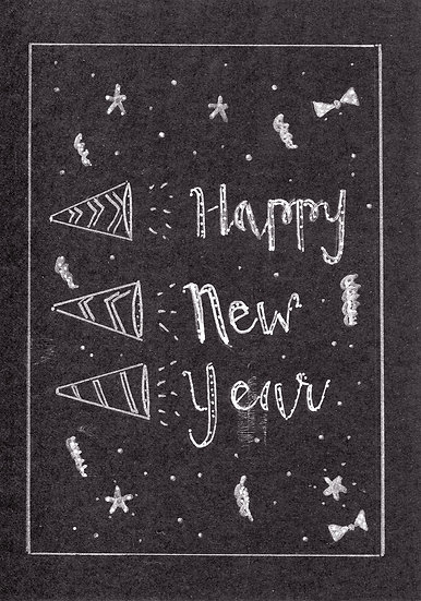 Happy New Year Greeting Card (Black and White)  (Pack of 6)
