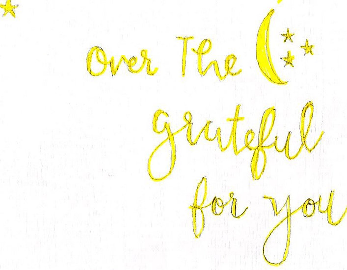 """Over the Moon Grateful for You"" Notecard (Pack of 6)"