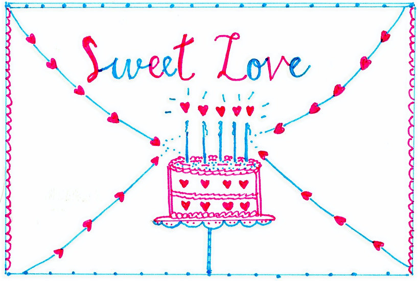 """Sweet Love"" Cake Card (Pack of 6)"