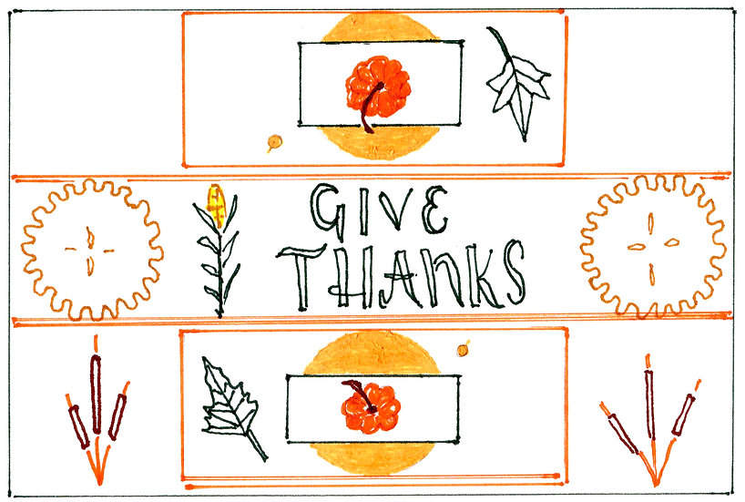 """""""Thanksgiving For Two"""" Notecard"""