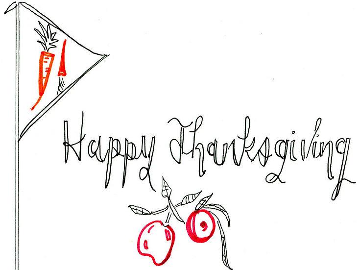 "Thanksgiving ""Apple Branch"" Greeting Card"