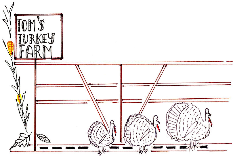 """""""Turkey Farm"""" Notecard"""