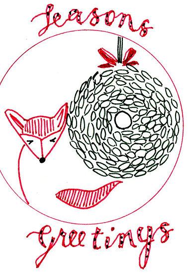 """""""Christmas Fox"""" Postcard"""